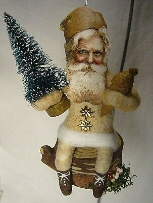 Vintage Inspired Spun Cotton Santa on Stump No. 127C For your Christmas Tree!