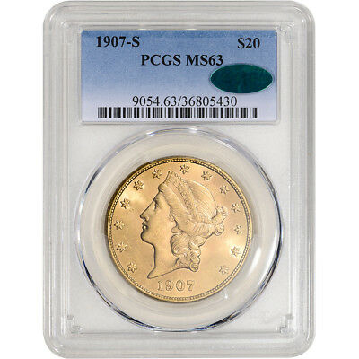 1907-S US Gold $20 Liberty Head Double Eagle - PCGS MS63 CAC Verified