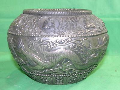 "Asian 3.5"" Brass Embossed Bowl-Dragons And Monks Motif-Real Nice Detail!"