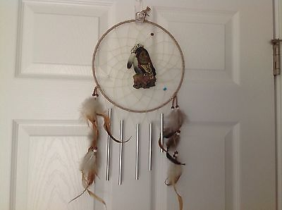 Indian Head Dream Catcher With Wind Chimes