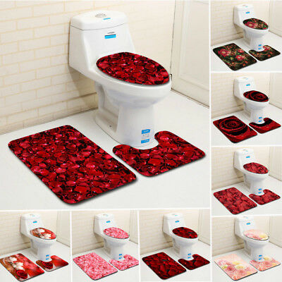 3pcs/set Rose Non-Slip Bath Mat Toilet Cover Bathroom Romantic Valentine's day