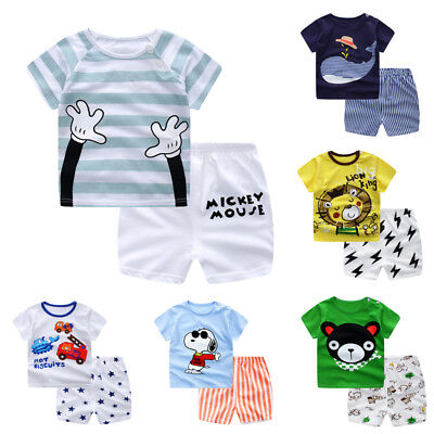 Set T-shirt Baby Summer Pants Infant Sleeve Boy Outfit 2pcs Toddler Girl Child