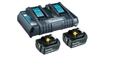 Makita 2 x 5,0Ah 18V Lithium-Ion Batteries BL1850B, 1 x Double Charger DC180RD