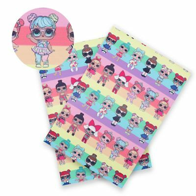 10pcs/ pack Cartoon Girls Printed Synthetic Leather Sheet DIY Craft Materials