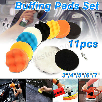 "11Pcs 3/4/5/6/7"" Buffing Polishing Waxing Sponge Pad Kit Set For Car Polisher"