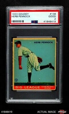 1933 Goudey #138 Herb Pennock Yankees PSA 2 - GOOD