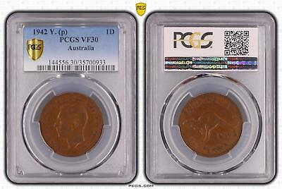 1942 Y. p Australia One Penny 1D PCGS GRADED - VF30BN -#933