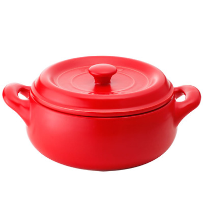 K+DEP Kitchen cooking Ceramic Stew Soup Pot with Dual Handles, Red, 18cm/1.2L