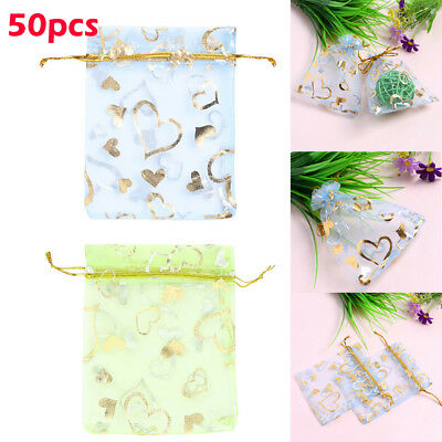 50X Organza Gift Bags Pouches Wedding Gift Favours Candy Jewelry Bags Supplies