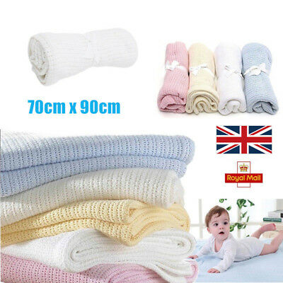 2x 100%Cotton Soft Baby Cellular Blanket Pram Cot Bed Basket Crib Thread 70x90cm
