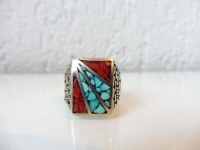 Very Nice Old Large Ring __Sterling Silver _ with Turquoise and Coral __Gr.67