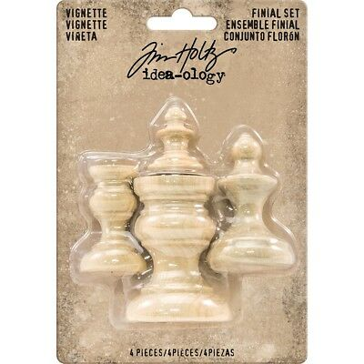 "Idea-ology Wooden Vignette Finial Set 4/pkg-unfinished .75""x1"" To 1.5""x2"""