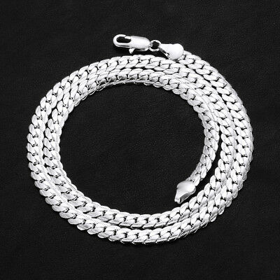 5MM Silver Tone Curb Cuban Link Stainless Steel Necklace MENS Chain Boys 50cm