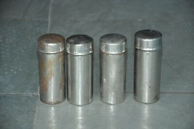 4 Pc Old Brass Nickel Plated Cylindrical Shape Handcrafted Boxes , Rich Patina