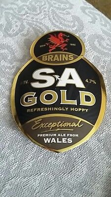 Brains Brewery Wales. Beer Pump clip front. SA Gold