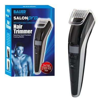 Salon Pro Rechargeable Cordless Men's Hair & Beard Trimmer Clippers Steel Blade