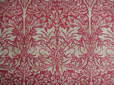 "WILLIAM MORRIS CURTAIN FABRIC ""Brer Rabbit"" 3.4 METRES COTTON POPLIN 100% COTTON"