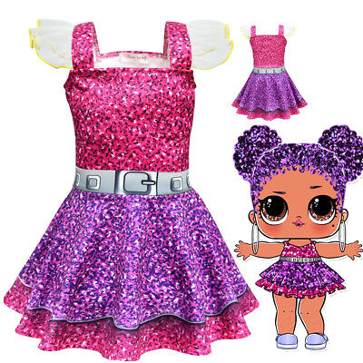 Kids Girls Sleeveless LOL Surprise Doll Cosplay Fancy Dress Party Princess Dress