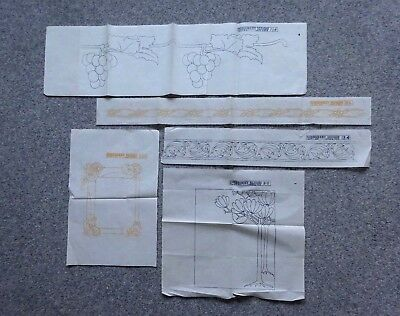 5  Antique Vintage Liberty Arts & Crafts Iron On Embroidery Transfer Patterns