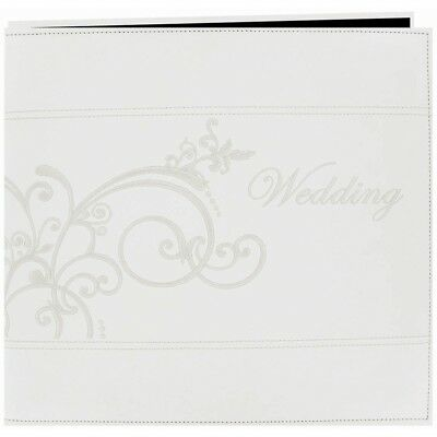 """Pioneer Embroidered Leatherette Post Bound Album 12""""x12""""-white"""