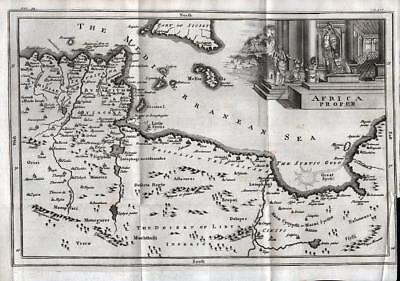 MAP of AFRICA 1747 ANTIQUE LINE ENGRAVING