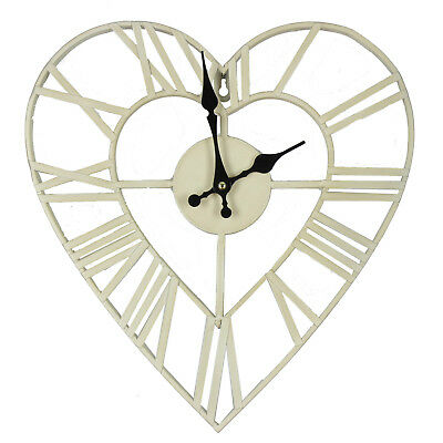 35cm Shabby Chic Antique Style Metal Heart Shape Wall Clock Retro Love Home Gift