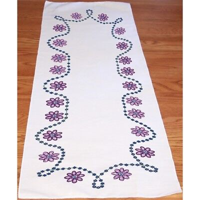"Fairway Stamped Perle Edge Dresser Scarf 15""x42""-border Flowers"