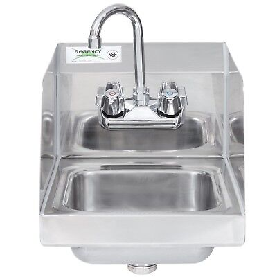 """New Regency Steel Hand Washing Sink Stainless 12"""" x 16"""" Commercial Faucet NSF"""