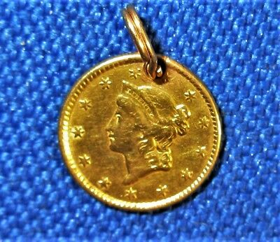 Pre Civil War 1853 US Solid Gold Liberty Head Type One Dollar PENDANT