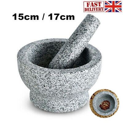 Marble Pestle And Mortar Set Grinding Crushing Herbs Spices Kitchen Grey Grinder