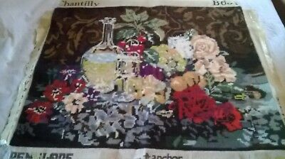 Vintage, Large    Completed Tapestry Of  Still Life  Scene Called Chantilly