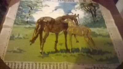Completed Vintage  Tapestry Of Mare And Foal