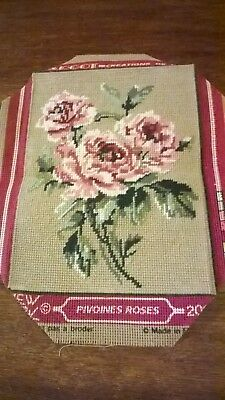 Small    Completed Tapestry Of A Spray Of Pink  Roses