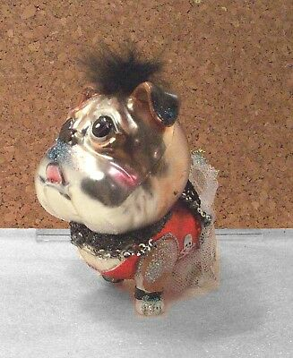 Skull & Crossbones BULLDOG with Attitude Glass Christmas Ornament NWT – Fun!