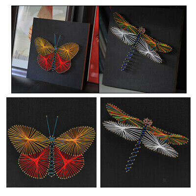 String Art Kit with Tool Butterfly Dragonfly DIY Winding Painting 30x30cm
