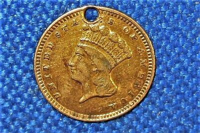 Pre Civil War 1856-1889 Type 3 US Gold Dollar Crafted into a LOVE TOKEN PENDANT