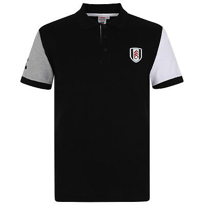 Fulham FC Official Football Gift Mens Contrast Sleeve Polo Shirt