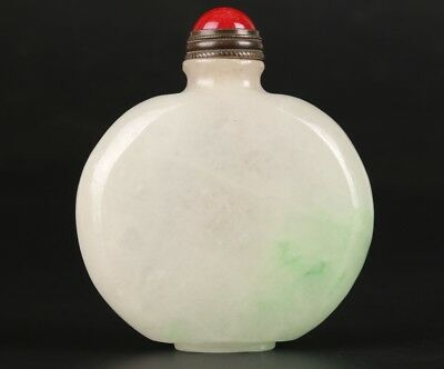 Rare Chinese Jadeite Snuff Bottle Hand-Sanded Mascot Collection Gifts
