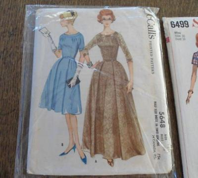Vintage Lot 1960s Sewing Patterns Wiggle Dress Long Full Coat Party Ladies Jr