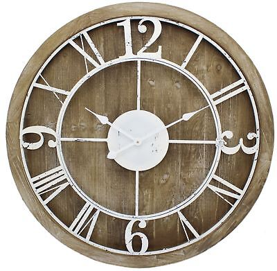80cm Extra Large Wooden White Trim Metal Decorative Wall Clock