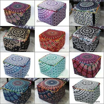 "Lot of 18"" Indian Handmade Square Ottoman Pouf Cover Cotton Footstool Seat Cover"