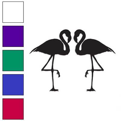 Pair of Flamingos Decal Sticker Choose Color + Size #317