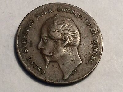 SWEDEN 1858 L.A. 2 Ore coin nice condition