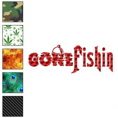 Gone Fishing Decal Sticker Choose Pattern + Size #346