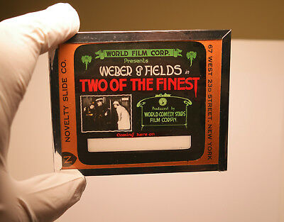 """1915 """"Two of the Finest"""" Weber & Fields MOVIE THEATER ad glass slide"""