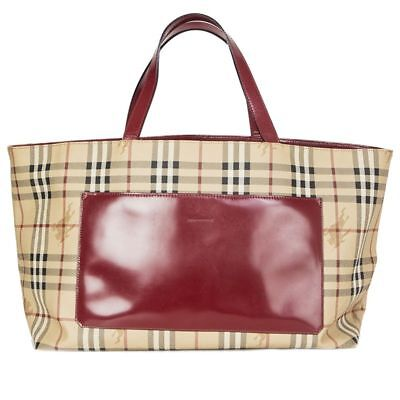 56514 auth BURBERRY beige Nova Check Tartan coated canvas Shopper Tote Bag a8df265521b1d
