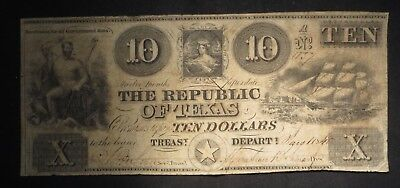 1840 Republic of Texas Ten Dollar $10 Note- Austin- Extremely Scarce- Cancelled