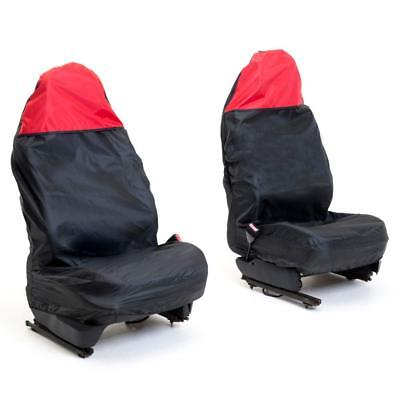 Auto Companion AUTOC-44 Universal Black Front Waterproof Seat Cover with Red Top