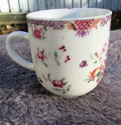 ANTIQUE 18thC QIANLONG CHINESE FAMILLE ROSE COFFEE CUP
