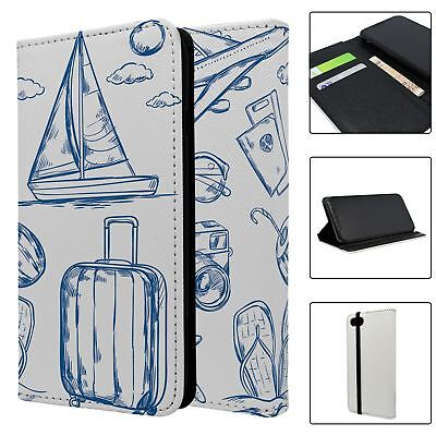 Phone Flip Wallet Case Cover Travel Holiday Pattern - S4750